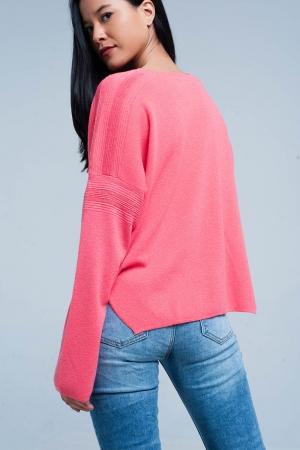 Suéter de punto fino coralino con detalles de purpurina