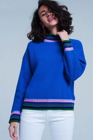 Jersey azul con detalle de rayas en el cuello y en el bajo