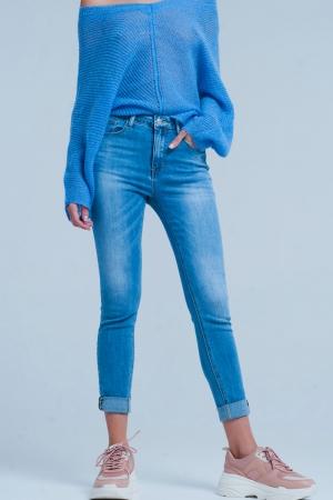 jeans lavado medio tiro alto con detalle de leopardo