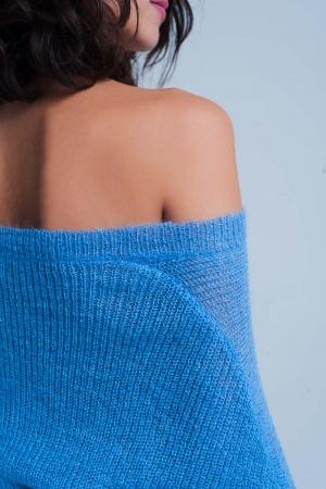 Jersey de punto en azul con cuello de pico