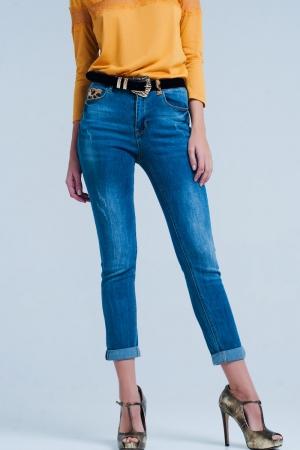 Jeans ajustado con detalle en la trabilla de leopardo