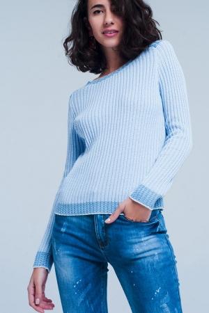 Jersey de canalé azul con bordes en contraste
