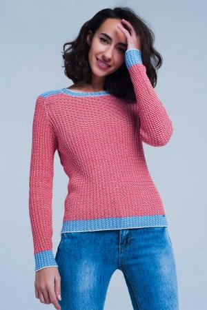 Jersey de canalé Rojo con bordes en azul