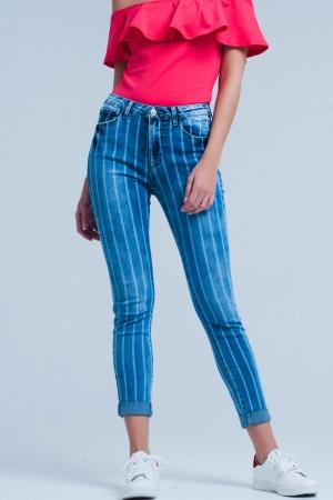 Jeans Skinny con rayas en azul lavado