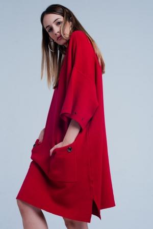 Vestido de punto rojo con bolsillos