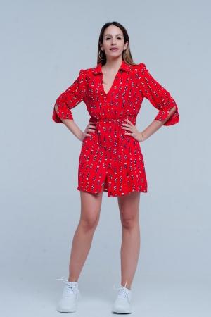 Vestido rojo estampado con escote de pico