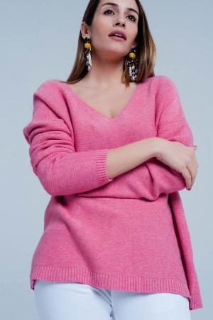 Sueter con escote de pico de punto suave en rosa