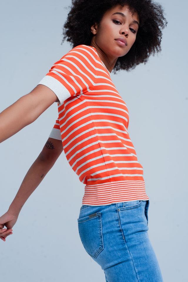 Jersey naranja a rayas con brillo de manga corta