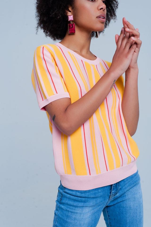 Jersey rosa a rayas de manga corta
