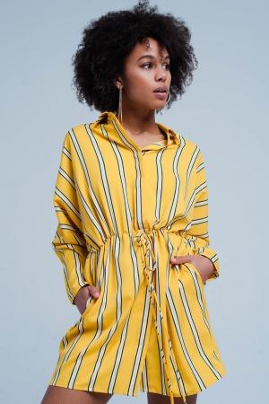 Vestido amarillo a rayas con lazo ajustable
