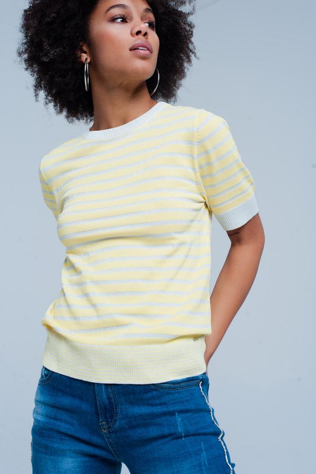 Jersey Amarillo a rayas con brillo de manga corta