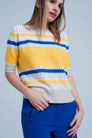Jersey texturizado a rayas amarillas y azules