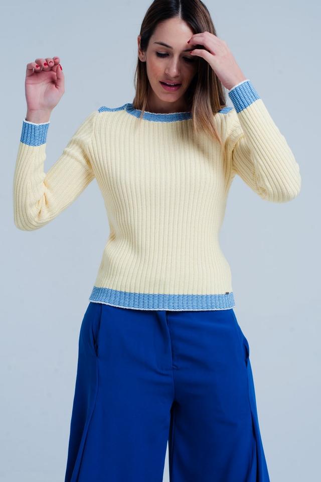 Jersey de canalé Amarillo con bordes en azul