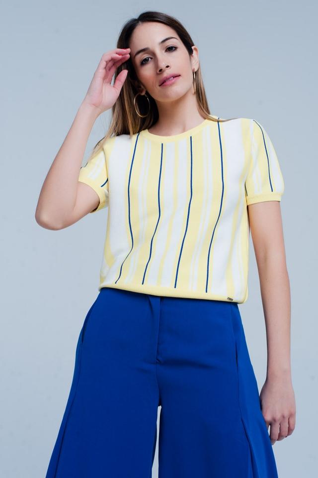 Jersey Amarillo a rayas de manga corta
