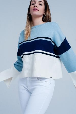 Jersey muy suave en Azul a rayas con mangas de campana