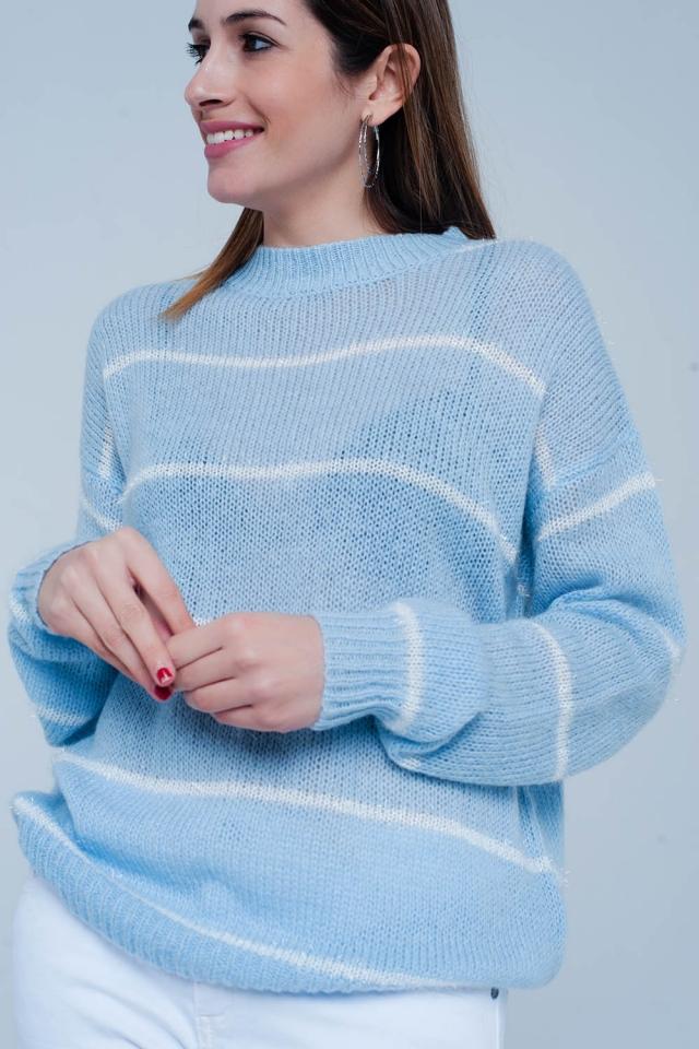 Jersey en Azul a rayas con cuello redondo