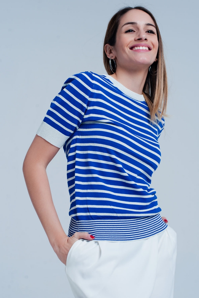 Jersey Azul a rayas con brillo de manga corta