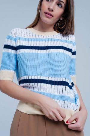 Jersey texturizado a rayas azules