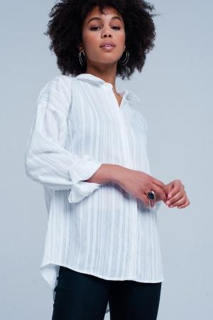 Camisa amplia blanca a rayas