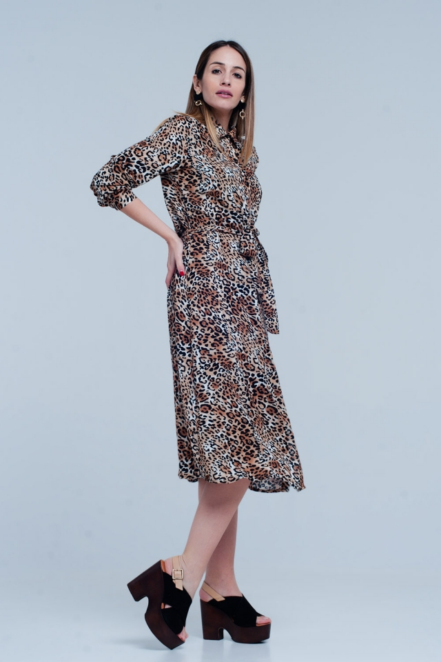 Vestido midi de leopardo marrón con lazo