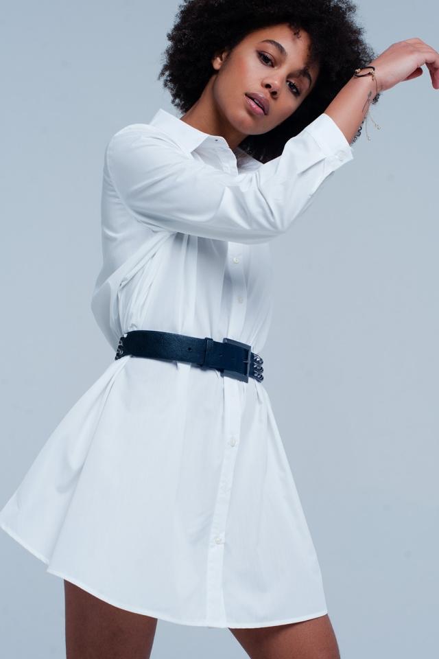 Camisa vestido larga blanca en popelin
