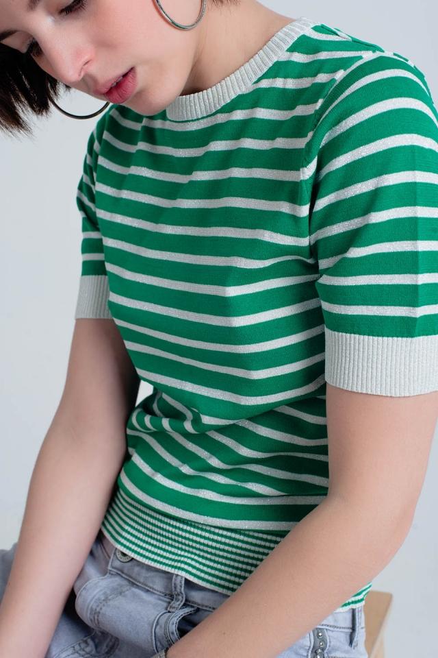 Jersey verde a rayas con brillo de manga corta