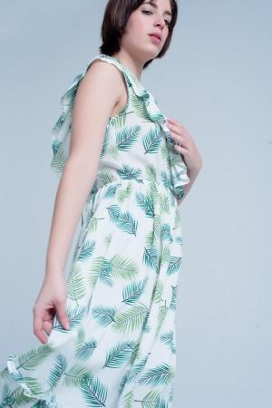 Vestido midi estampado de flores tropical