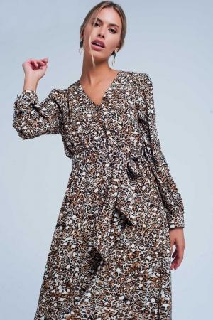 Vestido midi con estampado de leopardo y parte delantera de pico