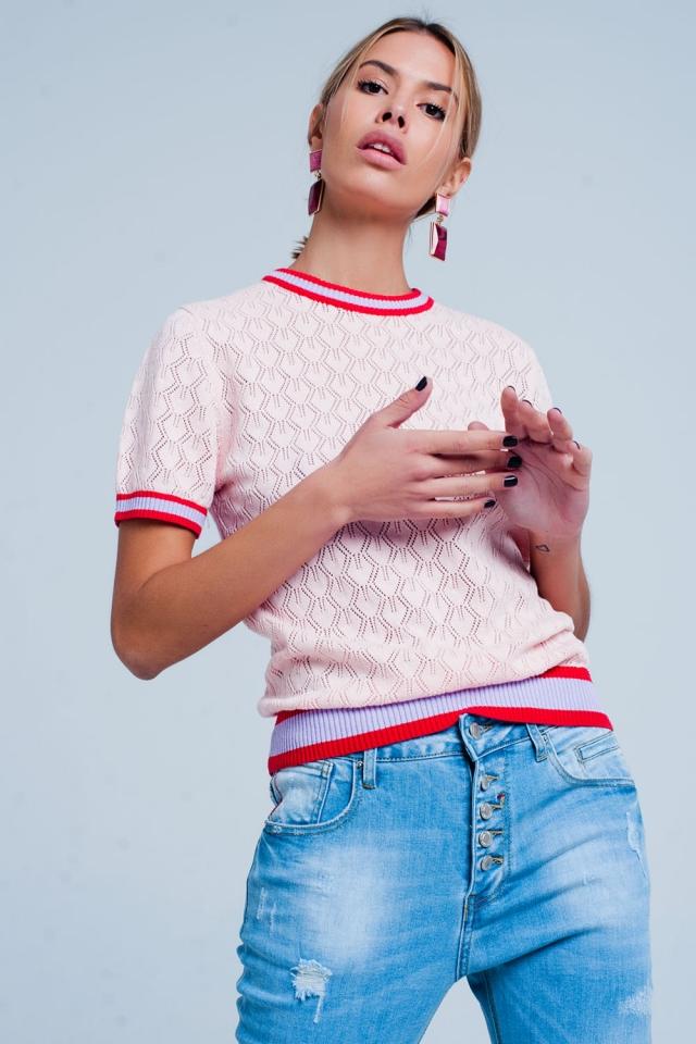 Sueter rosa de punto calado geometrico de manga corta