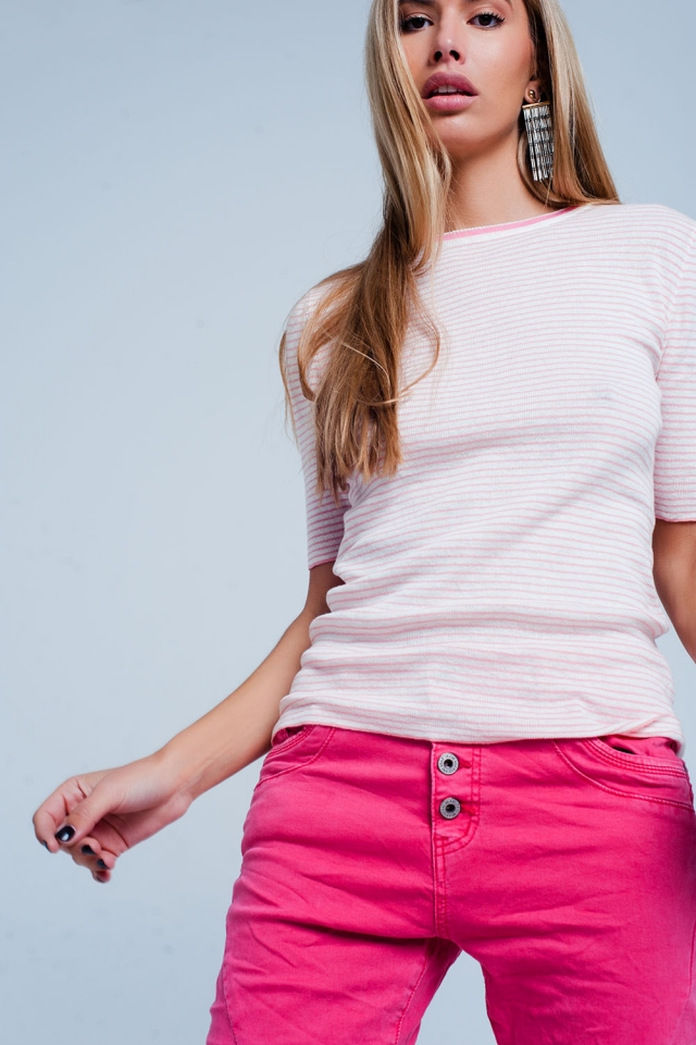 Jersey Rosa de manga corta con diseño a rayas bretonas