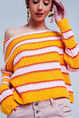 Jersey de rayas colour block en naranja y rosa
