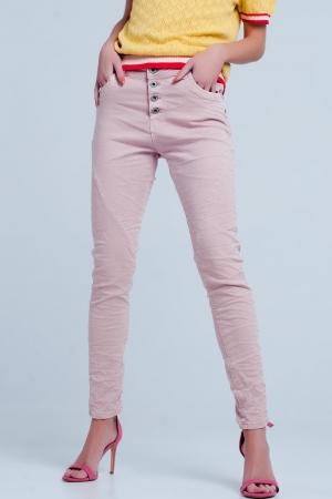 Vaqueros rosa estilo Boyfriend de talle bajo y botones