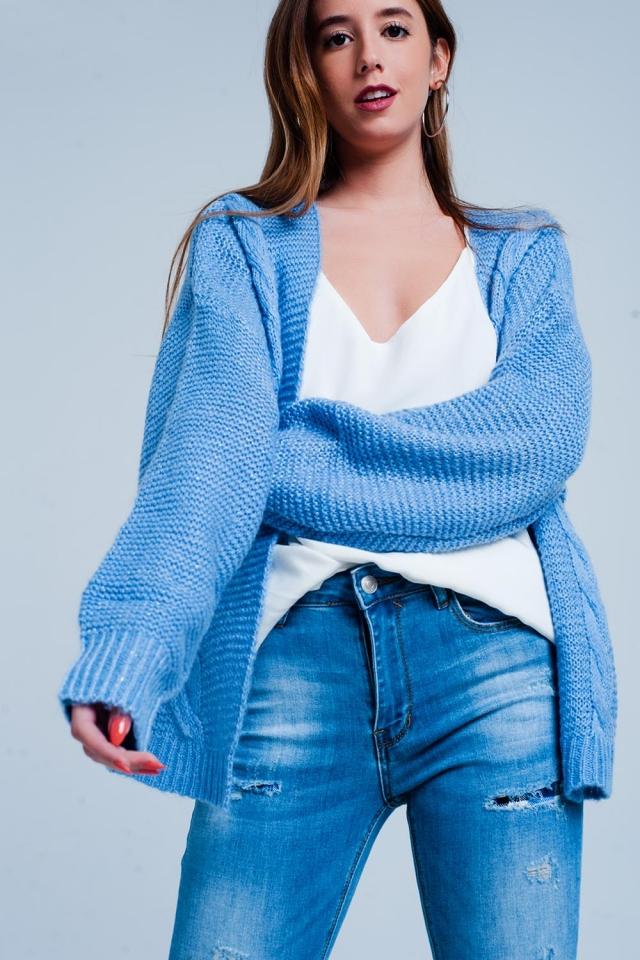 Cárdigan Azul con detalle de ochos sin botones