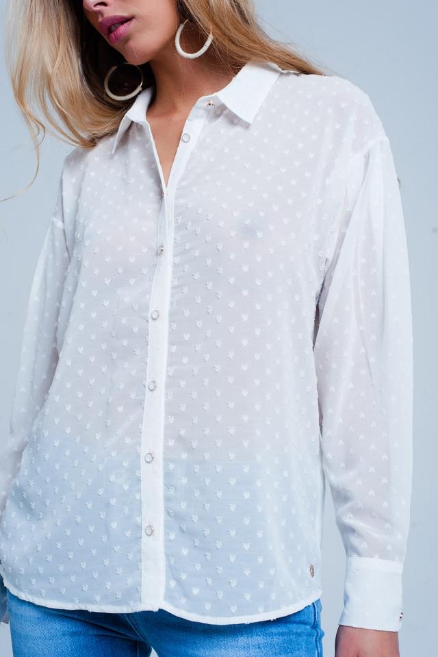 Camisa Blanca relax con transparencias y sutiles lunares