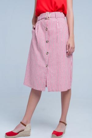 falda midi de rayas rojas con botones