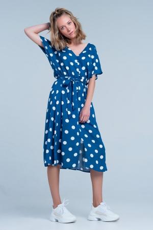 Vestido midi azul de lunares con botones