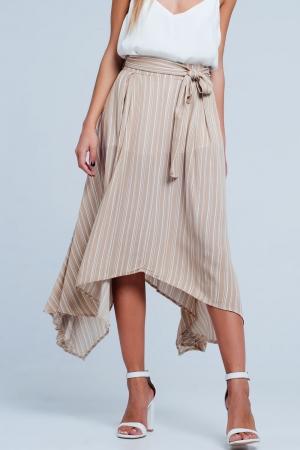 Falda midi beige a rayas con detalle anudado