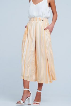 Falda pantalón a rayas amarillas