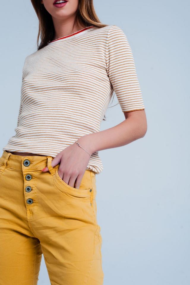 Jersey Color mostaza de manga corta con diseño a rayas bretonas