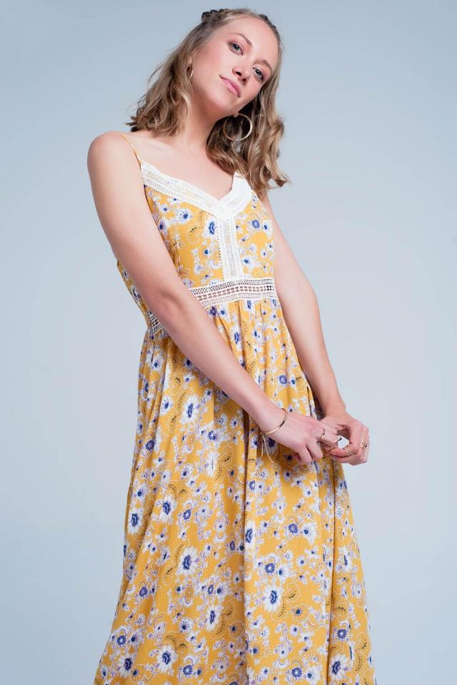 Vestido largo Amarillo de tirantes con estampado floral