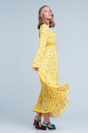 Vestido amarillo largo y amplio con estampado floral vintage