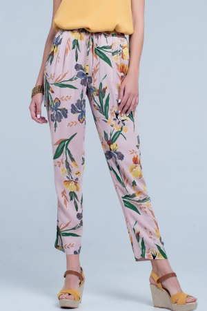 Pantalón con estampado de flores color rosa