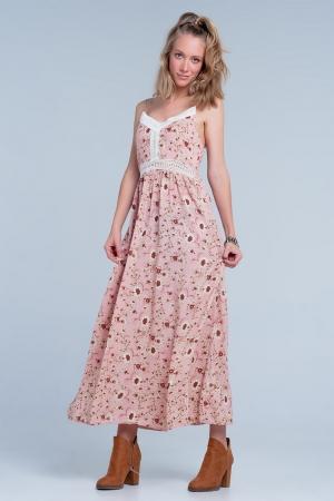 Vestido largo rosa de tirantes con estampado floral