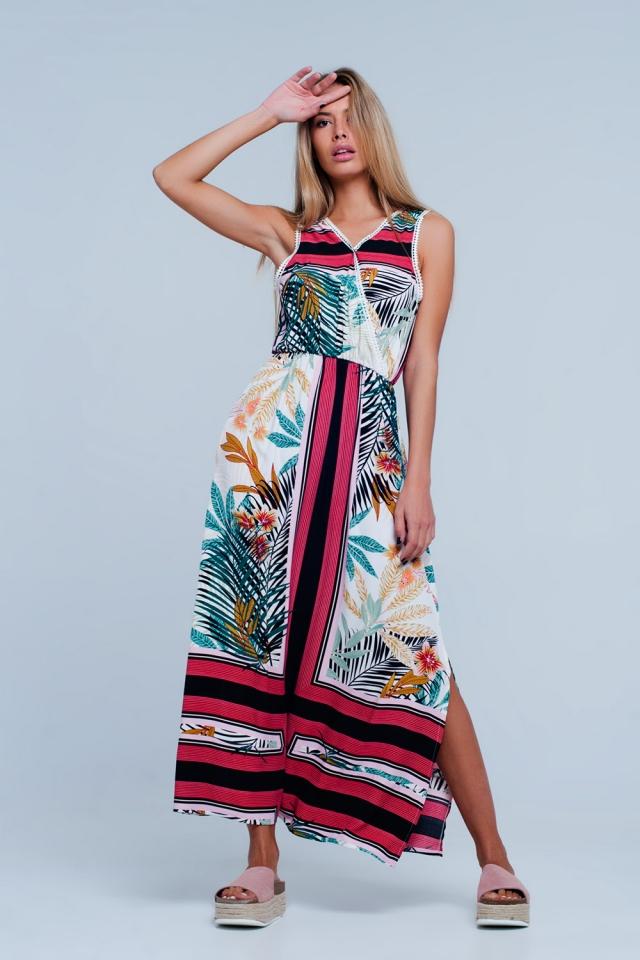 Vestido largo con estampado floral pastel y ribete de encaje