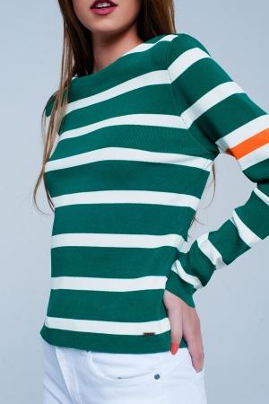 Jersey verde de rayas en colour block
