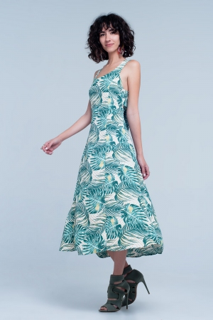 Vestido recto con estampado tropical verde