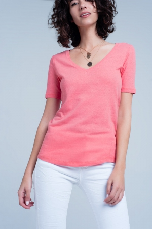 Camiseta Coral de manga corta con cuello de pico