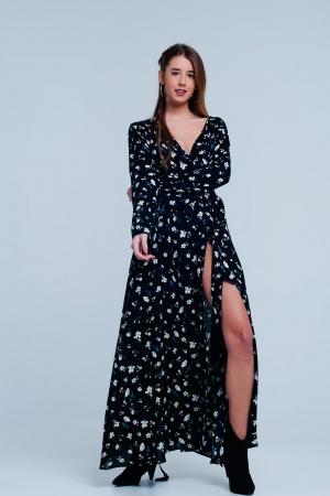 Vestido negro largo y amplio con estampado floral vintage