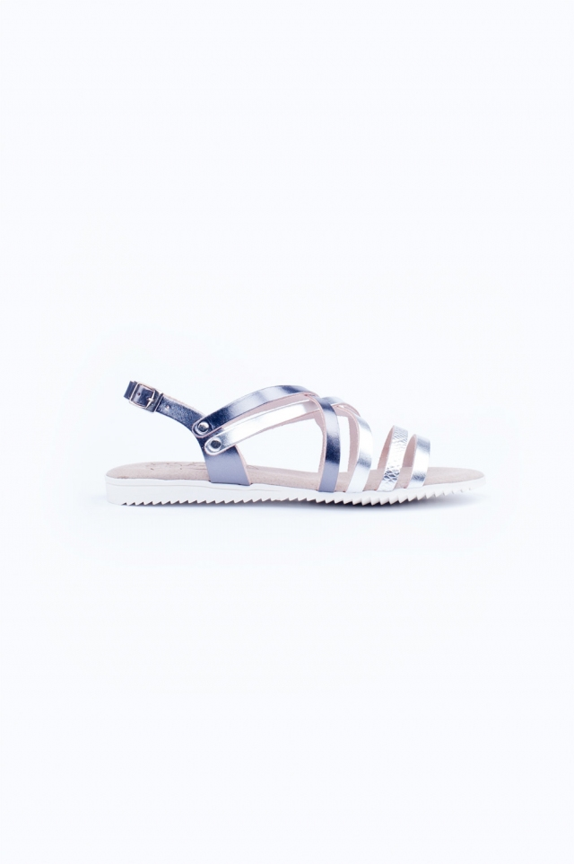 Silver strappy flat sandals