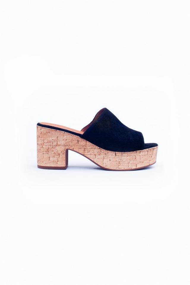 Black heeled sandals. Made in Spain